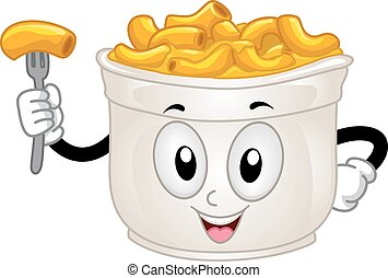 Mascot Mac and Cheese - Mascot Illustration of a Cup of Mac...