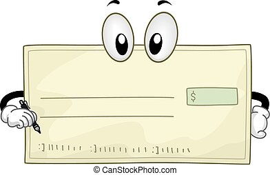 Mascot Blank Check - Mascot Illustration of a Blank Check...