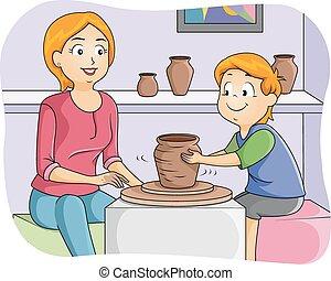 Kid Boy Learn Pottery - Illustration of a Little Boy Taking...