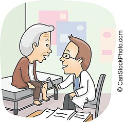 Senior Man Knee Check Up - Illustration of a Doctor Checking...