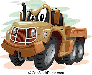 Mascot Military Truck - Mascot Illustration of a Brown...