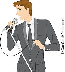 Man Singing - Illustration of a Man in a Suit Singing Using...