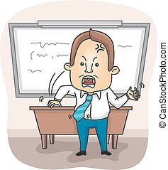 Man Professor Angry - Illustration of an Angry Professor...