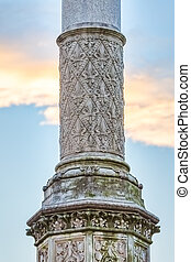 Old stone pillar - The old stone pillar decorated with...