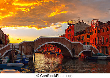 Sunset on canal Cannaregio in Venice, Italy - Grandiose...