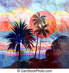 Graphics tropical landscape with palm trees - bright...