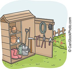 Garden Tool Shed - Illustration of an Open Shed Full of...