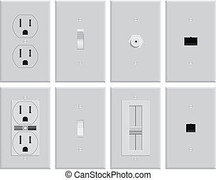 Wall Electrical Plates - Assortment of wall mounted US...