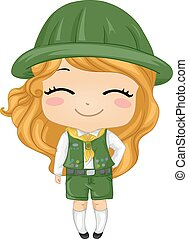 Kid Girl Scout - Illustration of a Little Girl Wearing a...