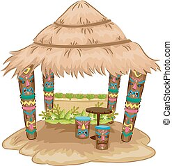Tiki Hut House - Illustration of a Tiki-themed Hut with Tiki...