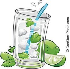 Drinks Mojito - Illustration of a Mojito Drink with Lime and...