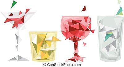 Extracto, diseño, geométrico, bebidas