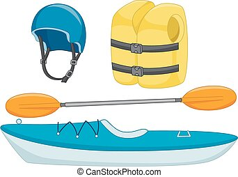 Kayaking Objects - Illustration of Different Objects Used in...