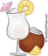 Drinks Pina Colada - Illustration of a Pina Colada drink...