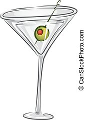 Drinks Martini - Illustration of a Martini Drink with Olive...