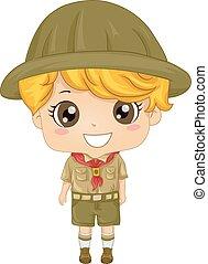 Kid Boy Scout - Illustration of a Little Boy Wearing a Boy...