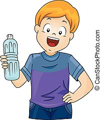 Kid Boy Plastic Bottle - Illustration of a Little Boy...