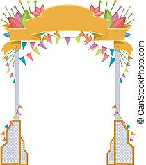 Welcome Arch Festival - Illustration of a Welcome Arch with...