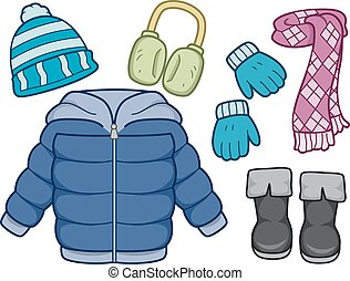 Winter Clothing - Illustration of Different Items Commonly...