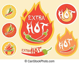 Spicy Hot Chili Label - Illustration of Ready to Print...