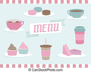 Menu Coffee Shop Elements - Illustration of Items Commonly...