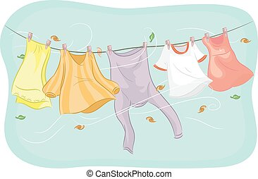 Clothesline Swayed by the Wind