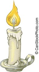 Candle Vintage Sketch - Sketch Illustration of a Lighted...