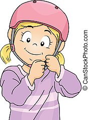 Girl Safety Helmet - Illustration of a Little Girl Adjusting...
