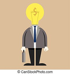 Businessman light bulb on head in suit