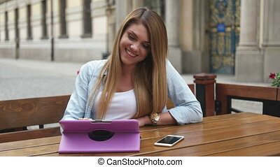 Happy Young Woman On Tablet