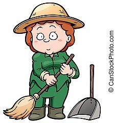 Cleaner - Vector illustration of Cleaner holding a broom