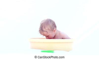 Baby Boy Taking A Bath - Happy little baby boy taking a bath...