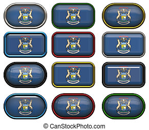 12 buttons of the Flag of Michigan - buttons of the flag of...