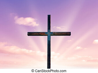 cross of christ and pink sky - cross of christ in field in...