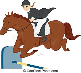 Girl Teen Equestrian Horse - Illustration of a Teen Girl on...