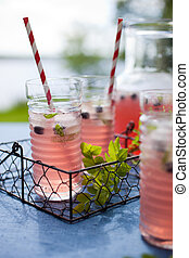 Berry lemonade - Homemade lemonade made from red berries
