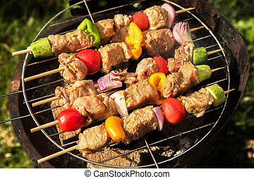 Bbq grill - Cooking vegetables and meat on bbq gril