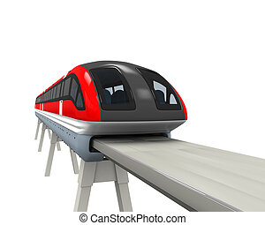 Monorail Train isolated on white background. 3D render