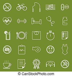 Wellness line icons on green background