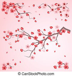 cherry blossom - Oriental painting style, cherry blossom in...