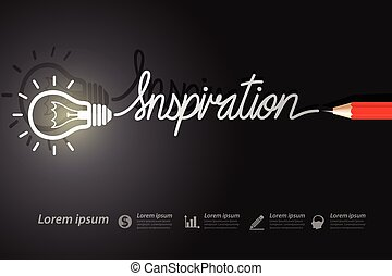 inspiration - Red pencil write inspiration with light bulbs...