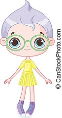 Cute Girl - Illustration of cute girl wearing glasses