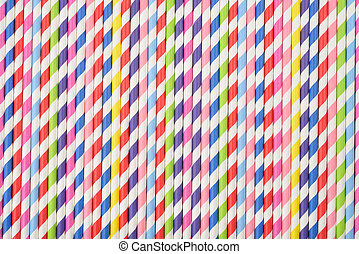 Bright background of colorful paper straws