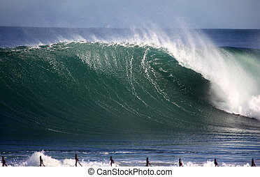 Newcastle Powerful Wave - A giant wave breaks towards the...