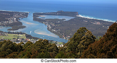 Camden Head and Laurieton from North Brother mountain - View...