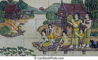 Thai stucco art - Stone carving of traditional Thai rural...