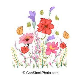 Sweet pea flowers, watercolor