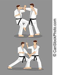 Karate Taekwondo Sparring Vector Illustration - Drawing of...