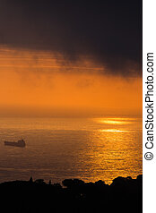 clouds and light over the sea in the Bay of Algiers in...