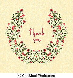 Vector illustration of greeting cards with flowers. Thank you.